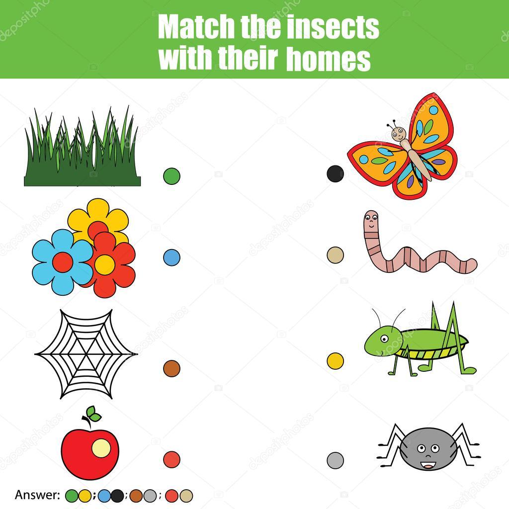 Passende Kinder Spiel, Kinder Aktivität. Passen Sie die Insekten mit ...
