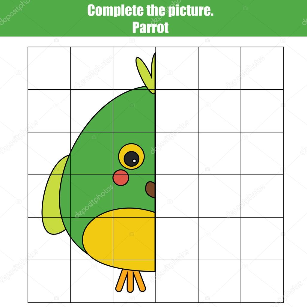 Grid copy game, complete the picture game, coloring page. Kids ...