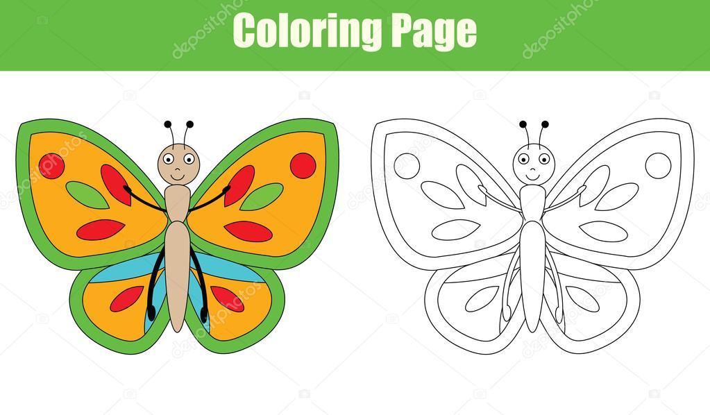 Malvorlagen mit Schmetterling, Kinder Aktivitäten — Stockvektor ...