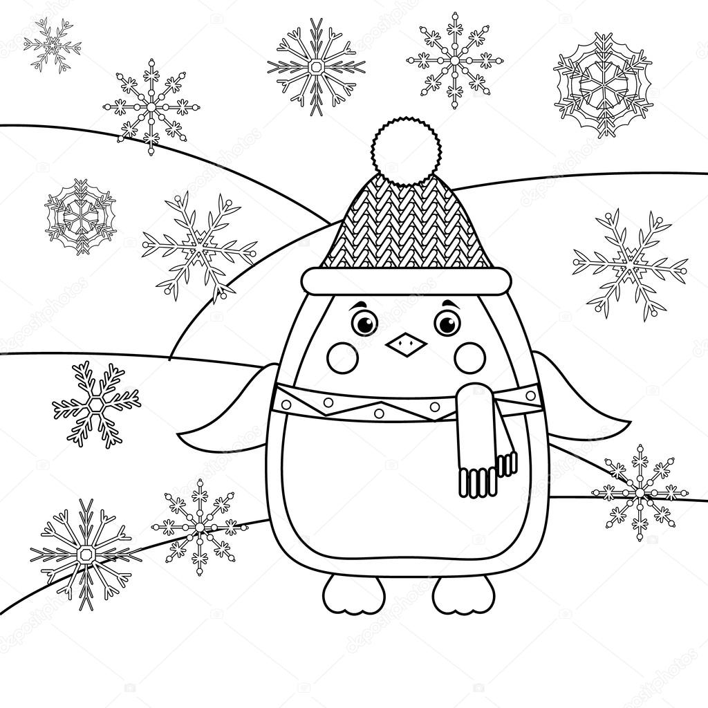 Página para colorear de copos de nieve y pingüino. Juego educativo ...