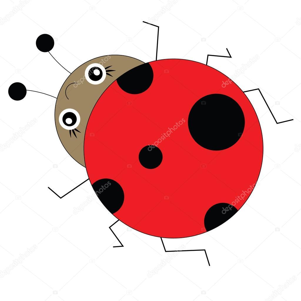 Uğur Böceği çizgi Film Tarzı Vektör çizim Stok Vektör
