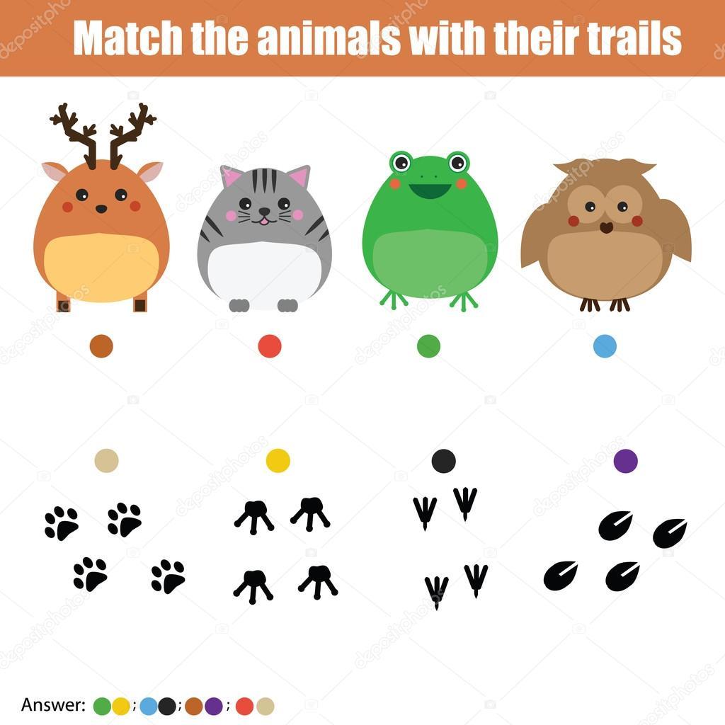 Passende Kinder Spiel, Kinder Aktivität. Spiel Tiere mit Wanderwegen ...