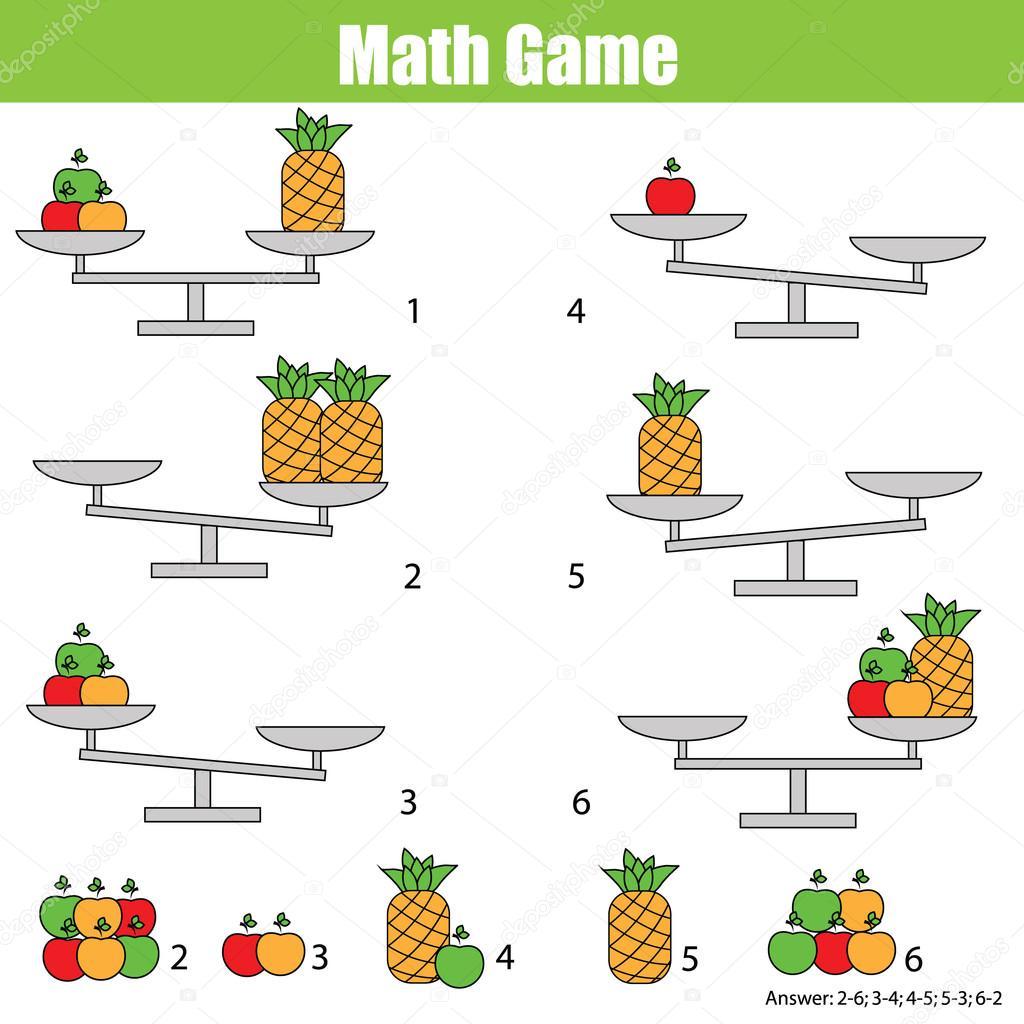 Mathematik-Lernspiel für Kinder. Gleichgewicht der Waage ...