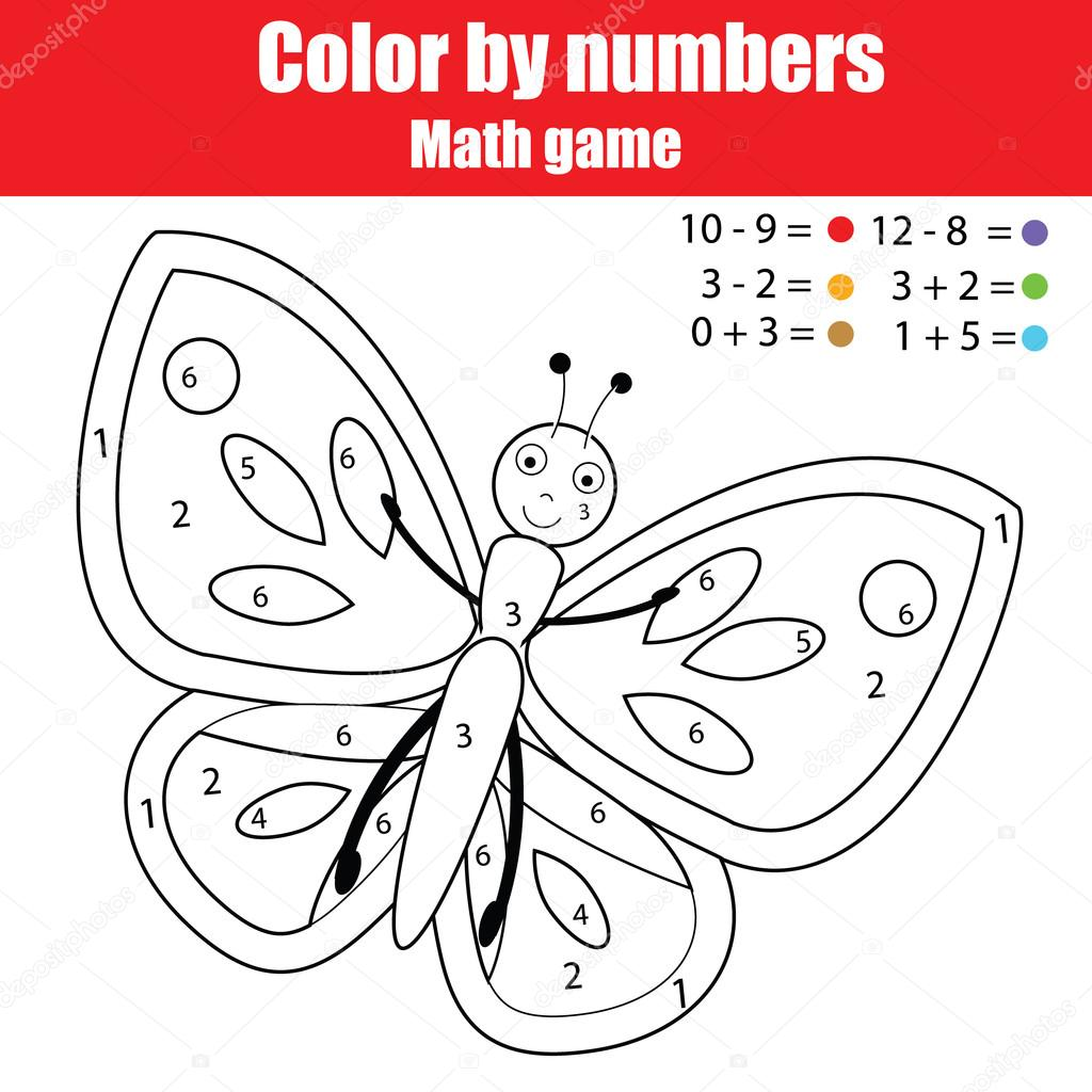 Coloring Page With Butterfly Color By Numbers Educational