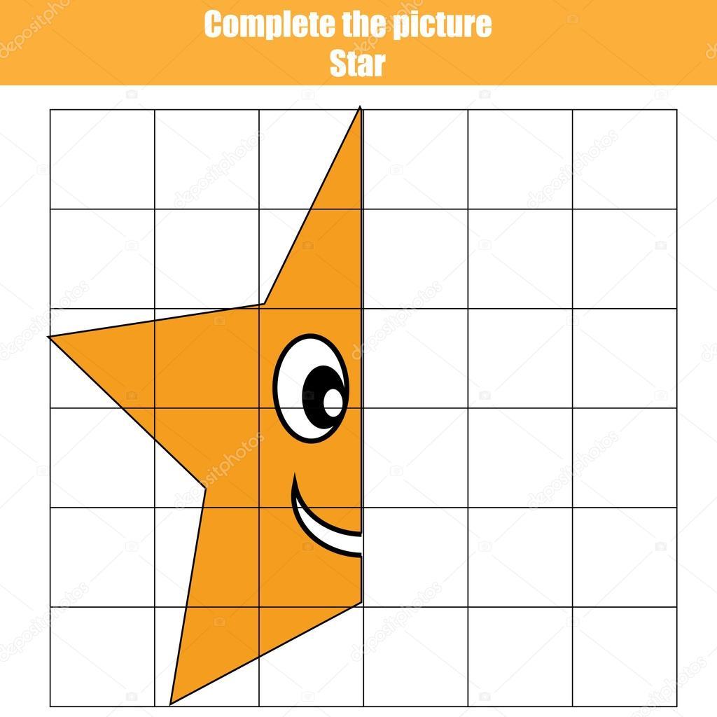 Kılavuz Kopyalayın Oyun Sayfa Boyama Resim çocuk Tamamlamak Yıldız