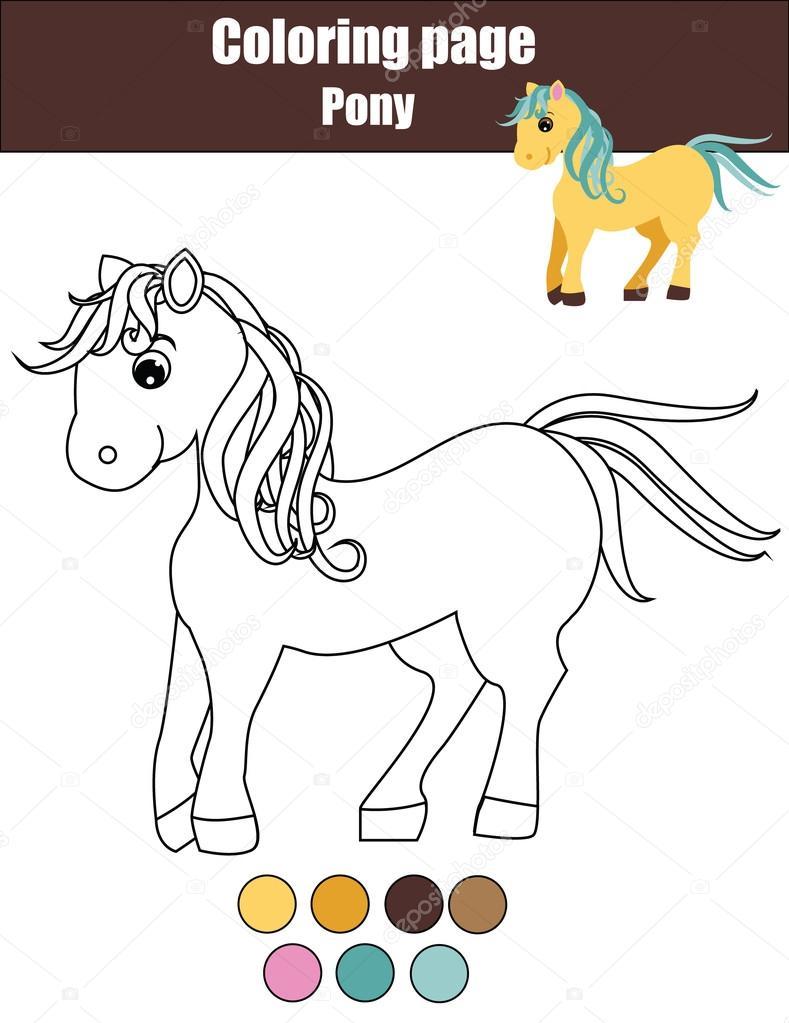Magnifiek Kleurplaat met schattige pony, paard. Educatief spel, tekening #UI45