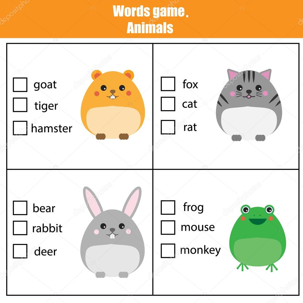 Gmail theme fox - Words Test Educational Game For Children Animals Theme Learning Vocabulary Choose The Correct Answer Task Vector By Bonnyheize Gmail Com