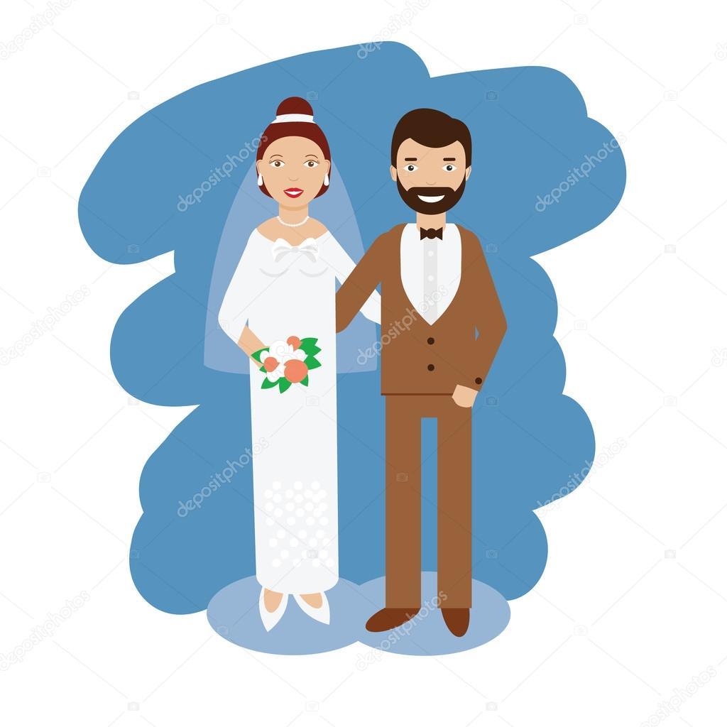 Colección de par la boda. Sonriendo feliz par vector ilustración de ...
