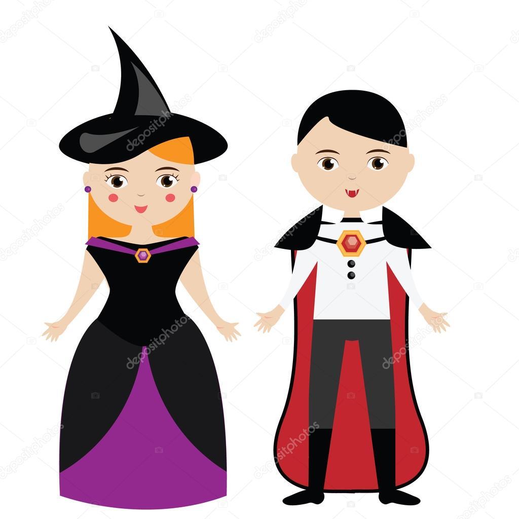 Personnages De Dessins Animés Sorcière Et Le Vampire Garçon