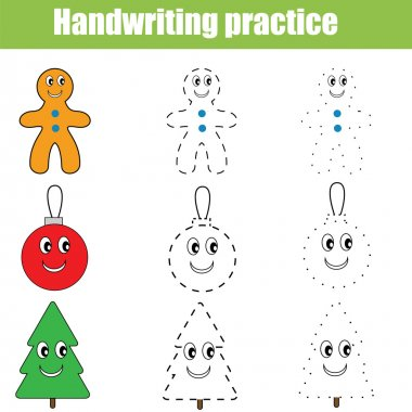 Handwriting practice sheet. Educational children game, printable worksheet. Christmas theme
