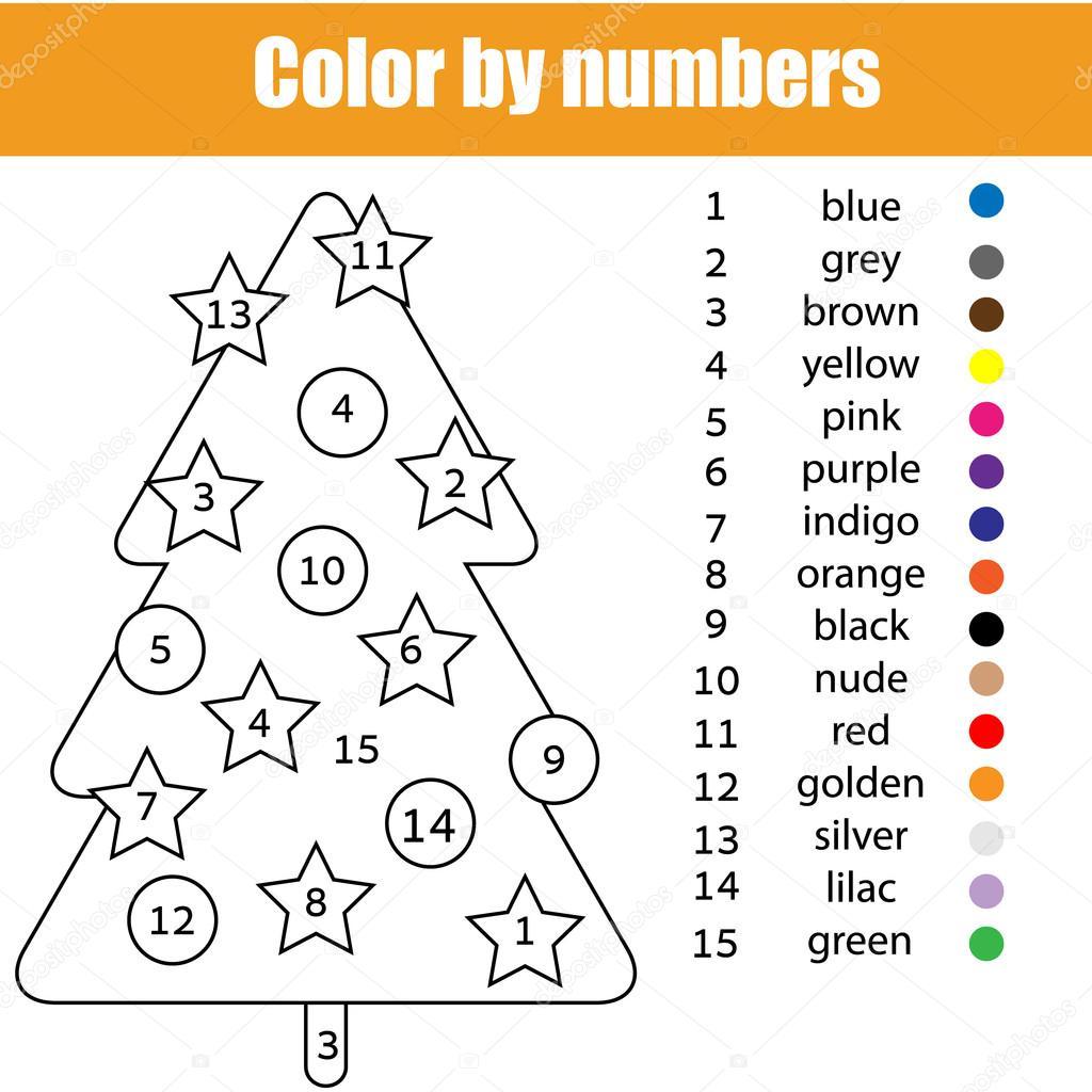 Kleurplaat Met Kerstboom Kleur Door Nummers Stockvector