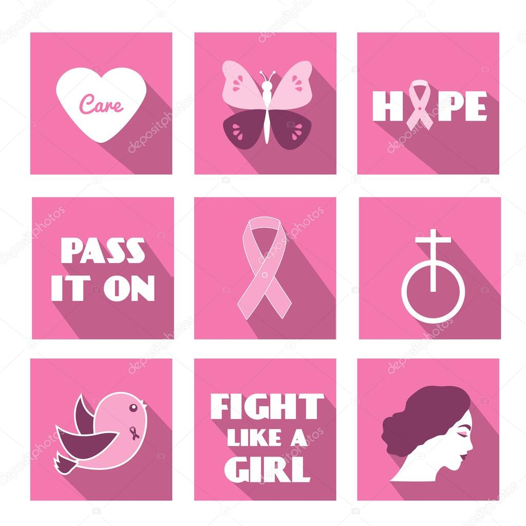 Breast cancer awareness month vector flat icons with slogan phrases breast cancer awareness month vector flat icons with slogan phrases and symbols stock vector buycottarizona Images