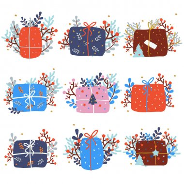 Christmas presents. Set of New Year giftbox. Collection of Winter holidays gifts decorated with berries, branches, leaves for seasonal celebration icon