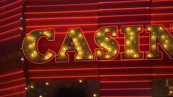 Las Vegas Red and Yellow Casino Neon Sign Closeup Nevada USA
