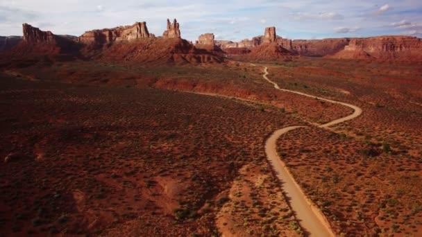 Valley Of The Gods Bears Fül Aerial Shot Southwest Desert Canyon Amerikai Sunset Descend