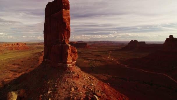 Valley Of The Gods Bears Fül Aerial Shot Southwest Desert Canyon Amerikai Egyesült Államok Fly Through Buttes