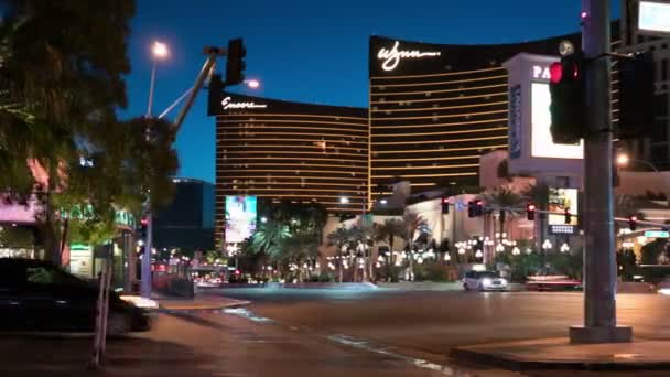 Las Vegas Strip Zeitraffer Hotels und Casinos bei Wynn Pan Right Sunrise