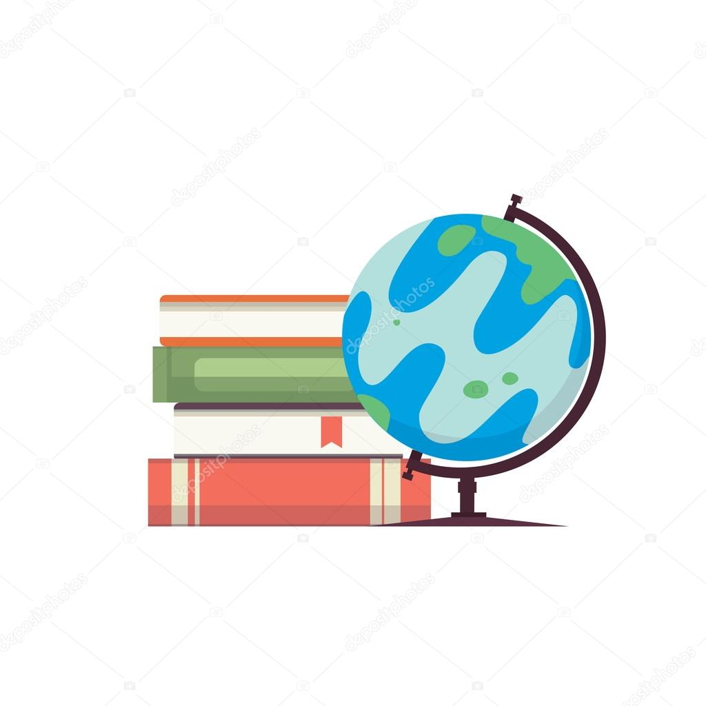Cartoon globe vector illustration world map on globe with books cartoon globe vector illustration world map on globe with books isolayed on white backgound eps10 vector by denis08131il gumiabroncs Choice Image