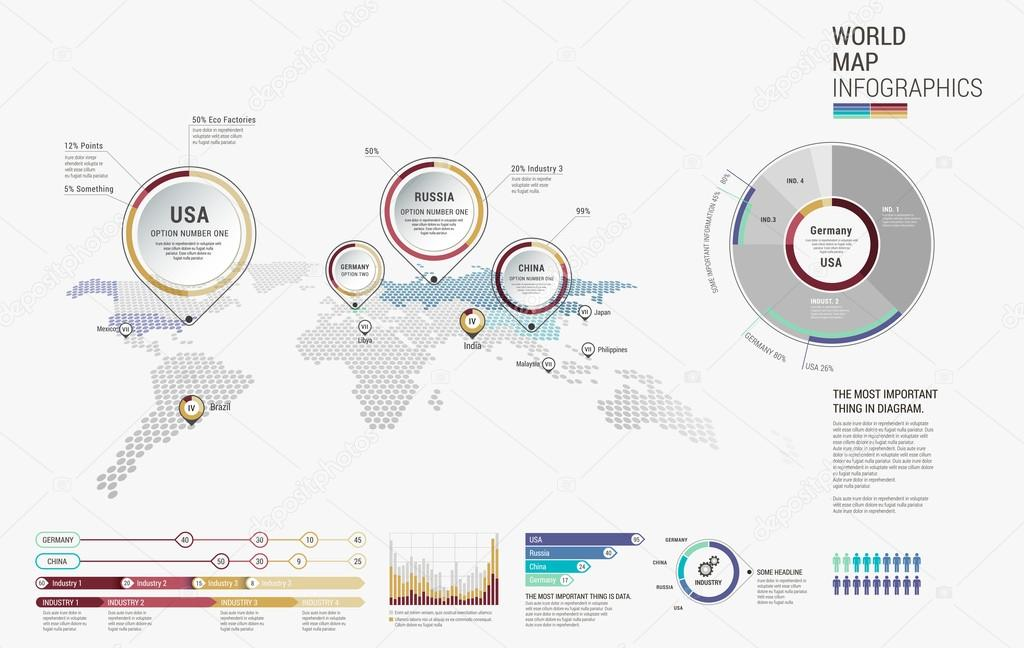 Set of infographics elements world map diagrams templates set of infographics elements world map diagrams templates vector de stock gumiabroncs Image collections