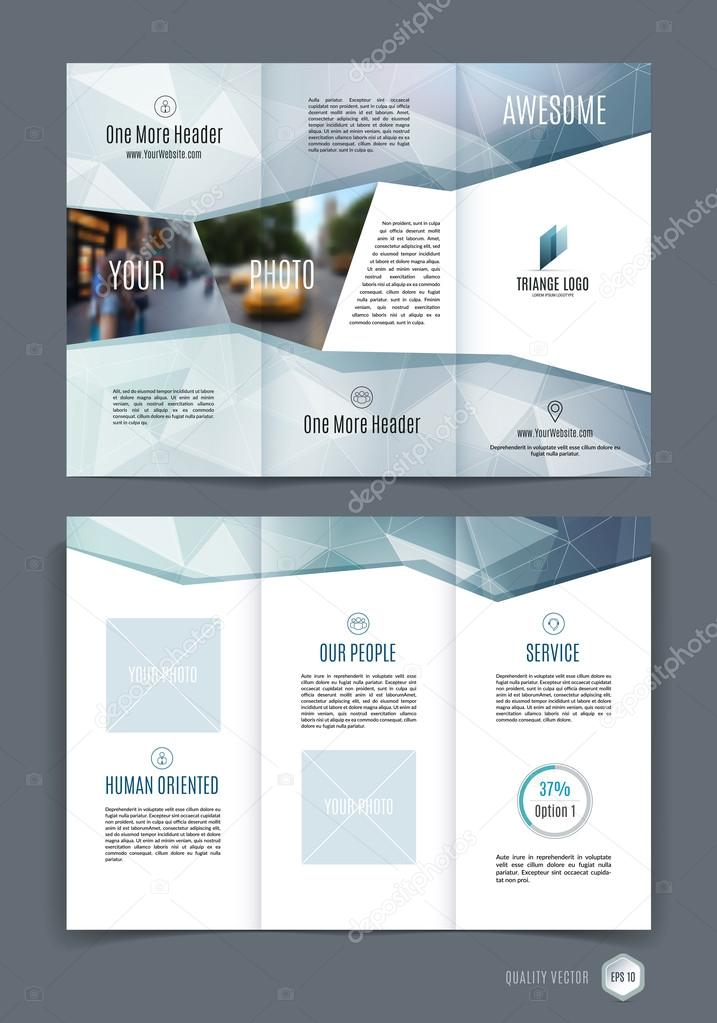 Abstract Three Fold Brochure Template Flyer Design Layout With - Three fold brochure template