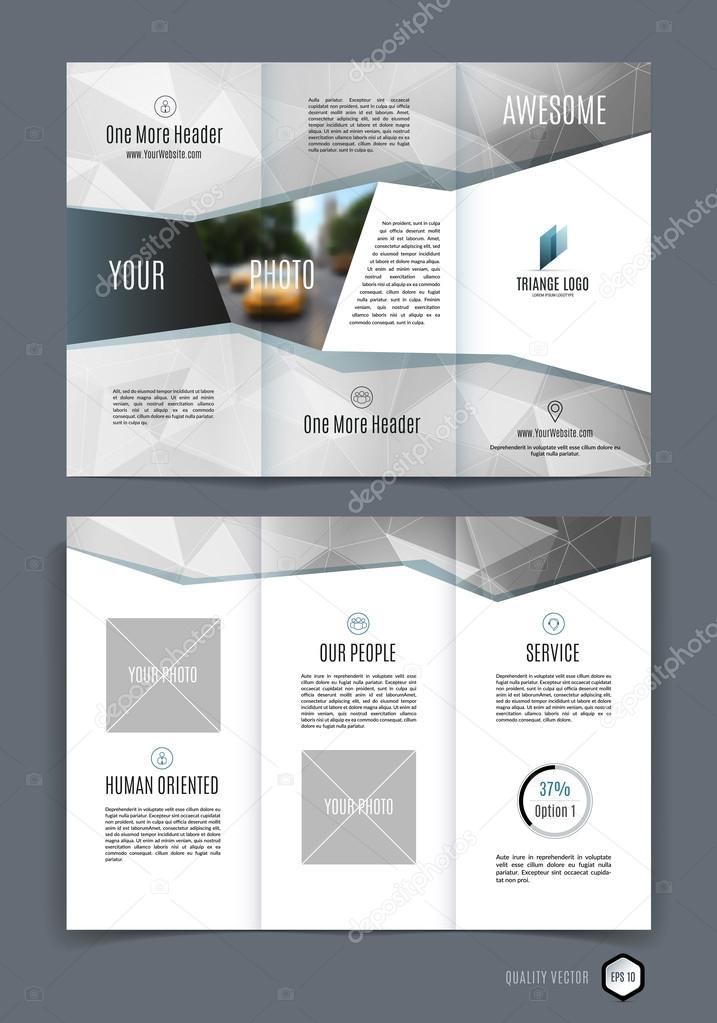 abstract three fold brochure template flyer design layout with