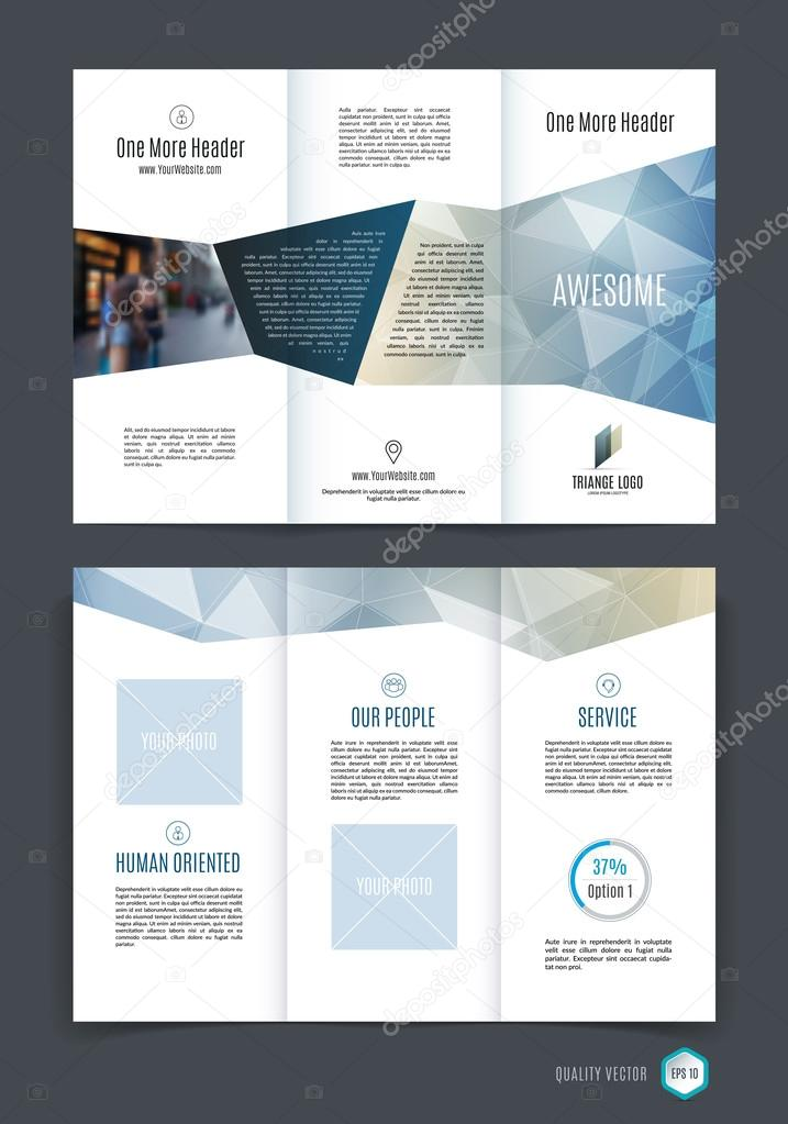 Abstract Three Fold Brochure Template Flyer Design Layout Grey