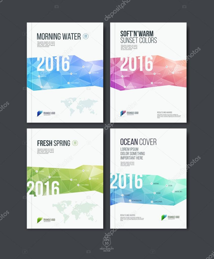 set of abstract colorful layout brochure cover annual report te