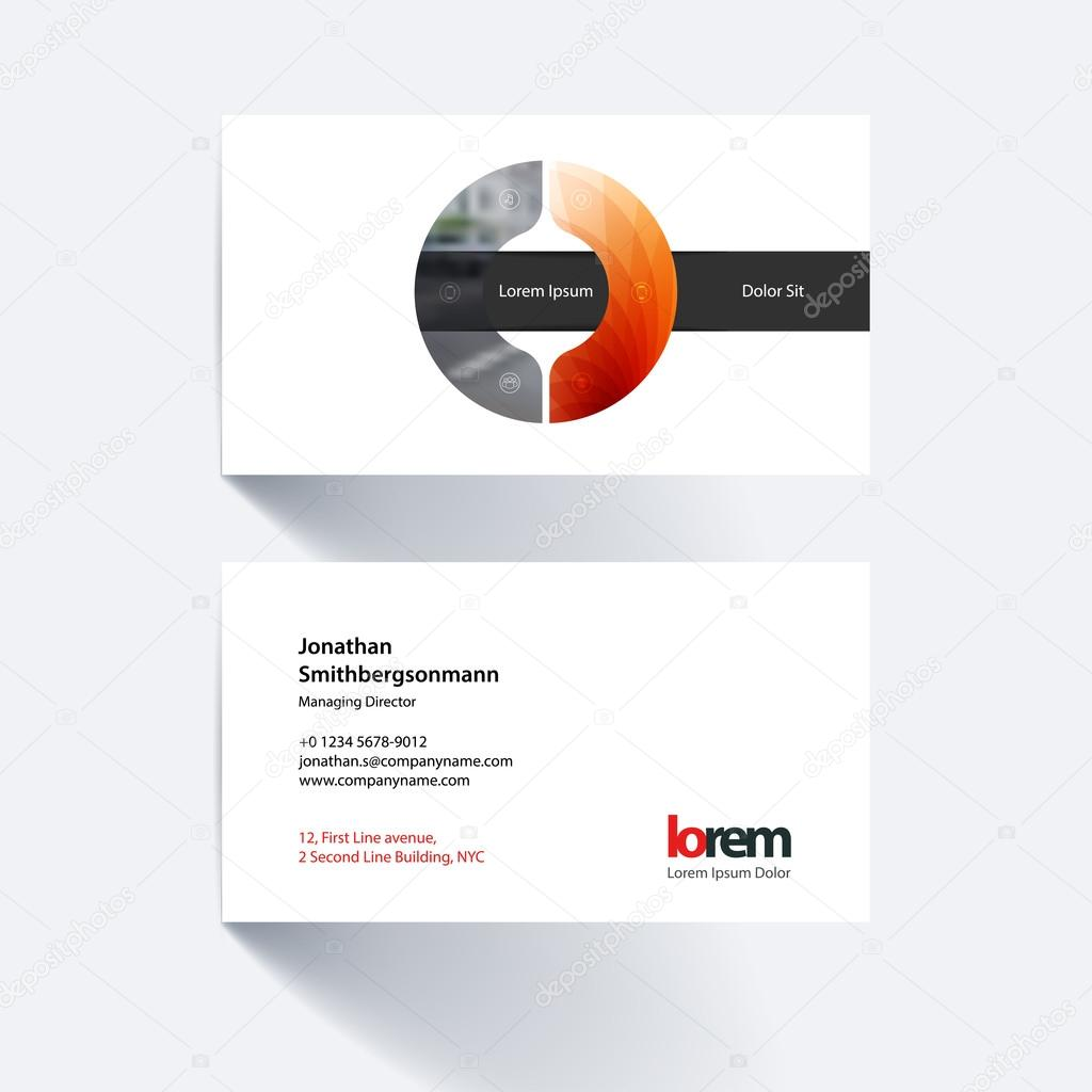 vector business card template with geometric shape and overlap e
