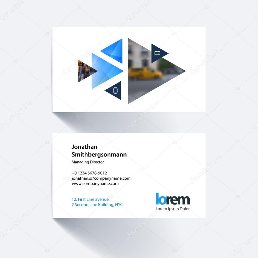 Vector business card template with moving triangles and arrows f ...