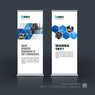 Vector set of modern roll Up Banner stand design with abstract b