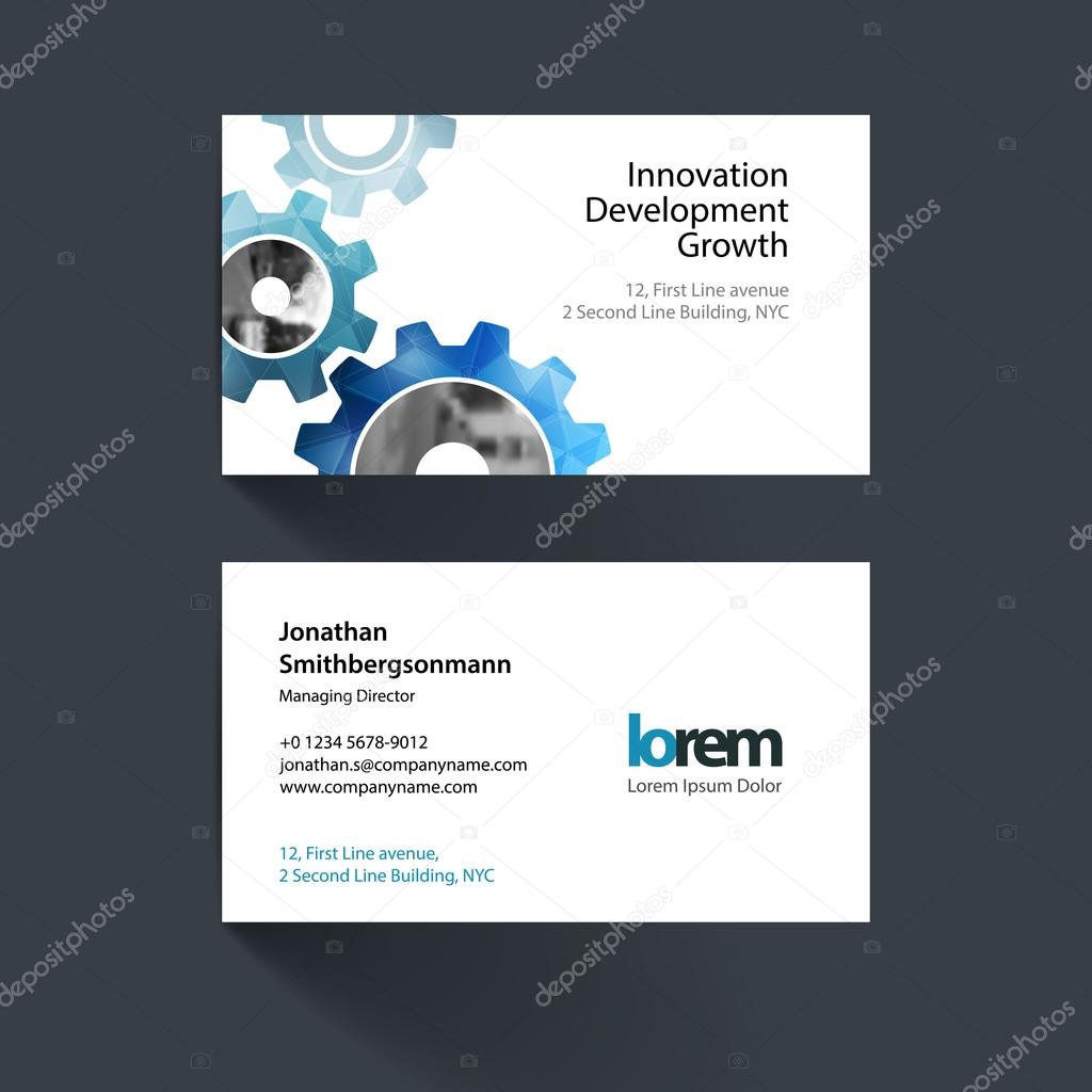 Vector business card template with blue gear and polygonal backg vector business card template with blue gear and polygonal background for engineering construction and hi tech simple and clean design reheart Images