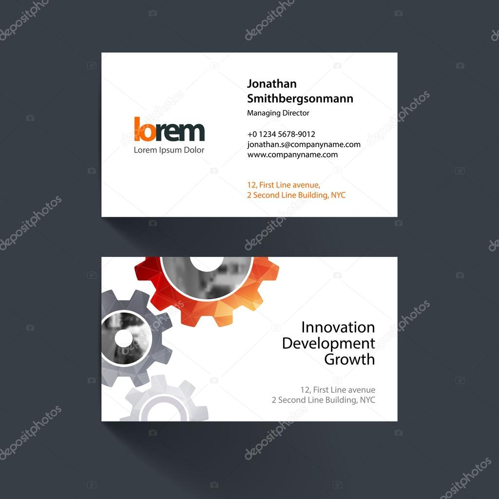 Vector business card template with blue gear and polygonal backg vector business card template with red gear and polygonal background for engineering construction and hi tech simple and clean design reheart Images