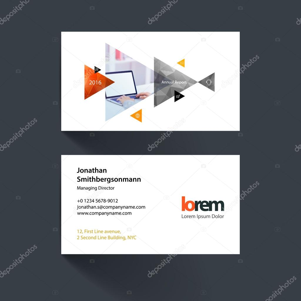 Vector business card template with moving triangles and arrows f vector business card template with moving triangles and arrows f vetores de stock reheart Image collections