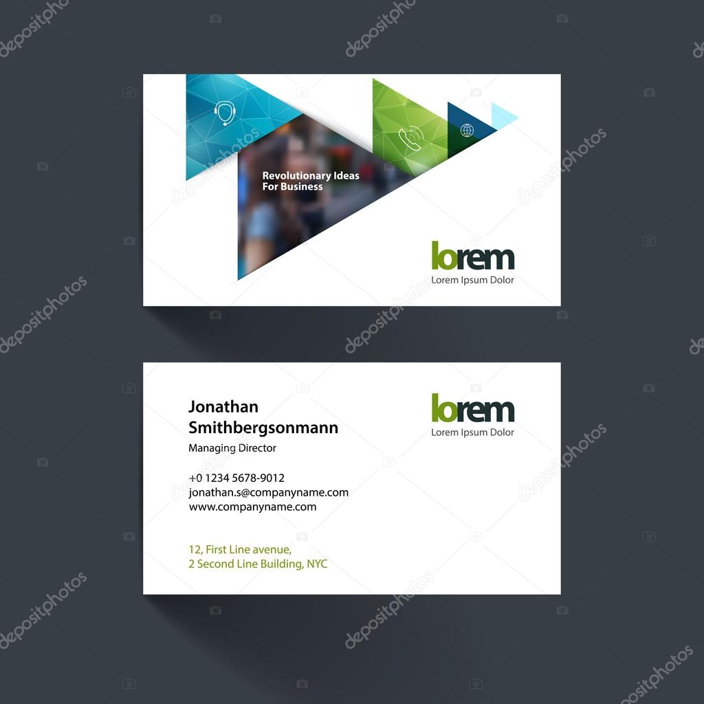 Vector business card template with orange moving triangles, arro ...