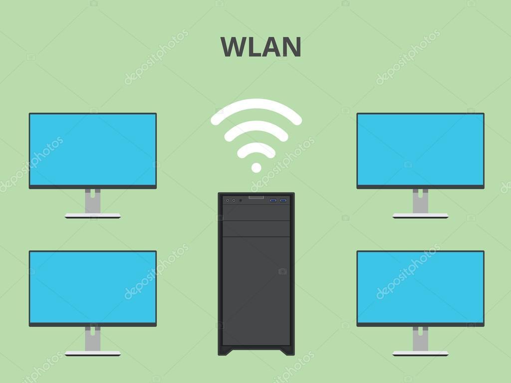 wlan wireless local area network — Stock Vector © teguhjatipras ...