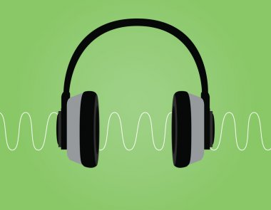 headphone noise signal sound wave vector illustration with green background
