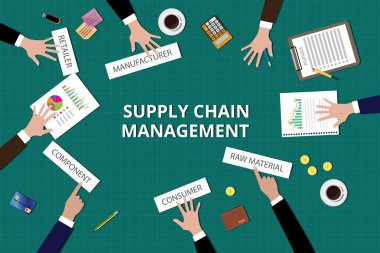 supply chain management team work together on top of table