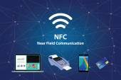 Nfc near field communication with tools technology credit card smartphone laptop vector graphic