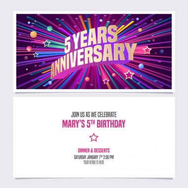 5 years anniversary invitation vector illustration. Graphic design element with bright fireworks for 5th birthday card, party invite icon