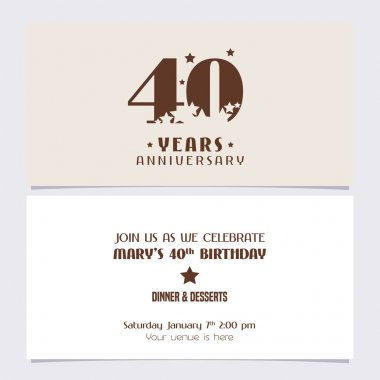 40 years anniversary invitation vector illustration. Design template element with elegant background for 40th birthday card, party invite icon