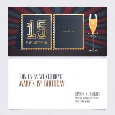 15 years anniversary invitation vector illustration. Graphic design template with collage of empty photo for 15th anniversary party  invite icon