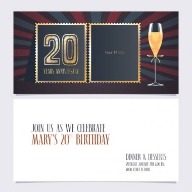 20 years anniversary invitation vector illustration. Graphic design template with collage of empty photo for 20th anniversary party  invite icon