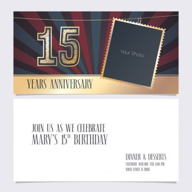 15 years anniversary invitation vector illustration. Graphic design element with photo frame  for 15th birthday card, party invite icon