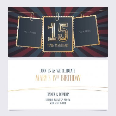 15 years anniversary party invitation vector template. Illustration with photo frames for 15th birthday card, invite icon