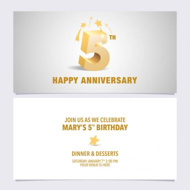 5 years anniversary invitation card vector illustration. Design template element with elegant 3D letters for 5th birthday party invite icon