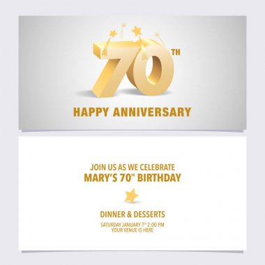 70 years anniversary invitation card vector illustration. Design template element with elegant 3D letters for 70th birthday party invite icon