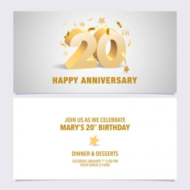 20 years anniversary invitation card vector illustration. Template design with golden color volumetric letters for 20th birthday party invite icon