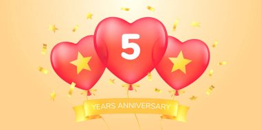 5 years anniversary vector logo, icon. Template banner with hot air balloons for 5th anniversary greeting card icon