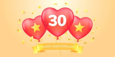 30 years anniversary vector logo, icon. Template banner with hot air balloons for 30th anniversary greeting card icon