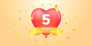 5 years anniversary vector logo, icon. Template banner, symbol with heart shape air hot balloon for 5th anniversary greeting card icon